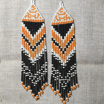 Native American Earrings  Inspired. White Black Orange  Earrings. Beaded Dangle  Earrings. Long Earrings.  Beadwork.
