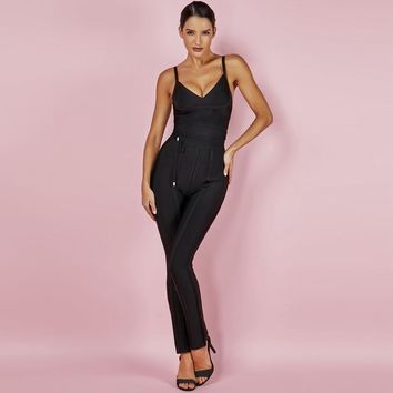 Iris- Bandage Black V Neck Jumpsuit