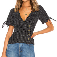 LPA Fitted Button Up Top With Puff Sleeves in Ditsy Dots