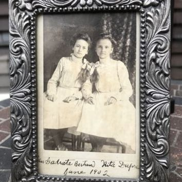 Victorian Pewter Filigree Photo Frame with Antique Phtoto 1902