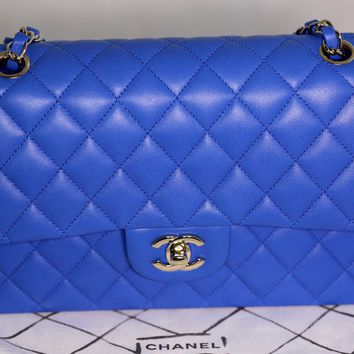 New and Auth Chanel classic lambskin leather medium double flap bag STUNNING !!!