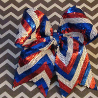 Red White and Blue Sequin Chevron Cheer Bow by isparklethat