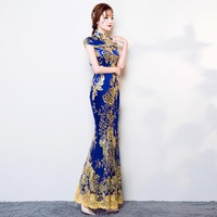 Blue, Purple, Red, Pink, Green Gold Embroidery Collection Long Cheongsam One-piece Chinese Qipao Dress
