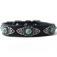 Leather Small Dog Collars with Turquoise