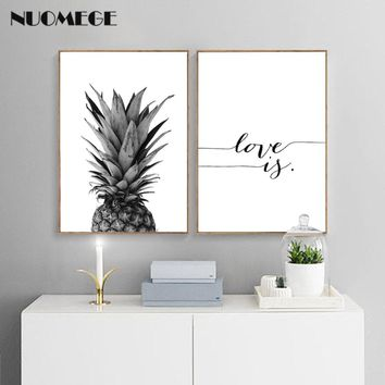 NUOMEGE Pineapple Wall Art Canvas Posters Prints Nordic Love IF Paintings Black White Wall Picture for Living Room Home Decor