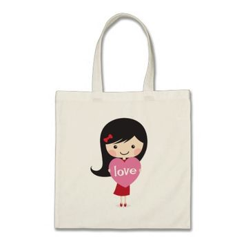 Little girl with love heart budget tote bag