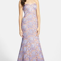 Junior Women's Hailey Logan Embroidered Lace Strapless Mermaid Gown