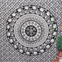 Black & white Indian Mandala Tapestry Boho tapestries Bohemian Decorative Wall Art Hippie Wall Hanging Hippy Throw Bedspread wall tapestry