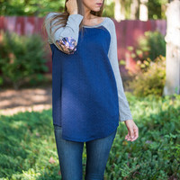 Shimmer Me Timbers Top, Navy