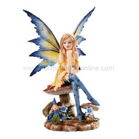 *New* 2013 Amy Brown Fantasy Magician Faery Mushroom Fairy Statue Enchanted 6h Figurine