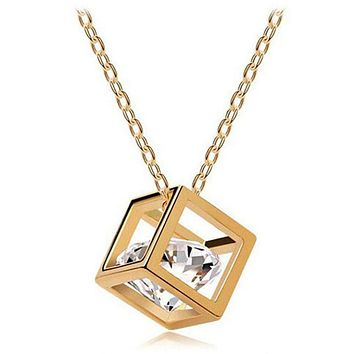Women's Chain Crystal Rhinestone Square Pendant Necklace-BUYFYE Members ONLY