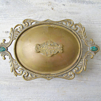 Antique Serving Dish JERUSALEM Lidded Brass Oval Footed Ornate Candy Bowl Vintage Metal Turquoise Keepsake Box Vanity Desk Table Decoration