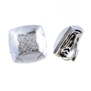 Estate Bvlgari Piramide Women's 18K White Gold Partial Diamond Pave Clip-on Earrings