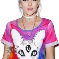 Kill Star Third Eye Crop Top Tie Dye