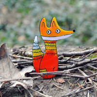 Foxy Julia brooch, handmade brooch, Foxy brooch, fox pin, Christmas gift for her, for foxy lovers