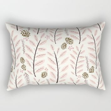 Pink Woodland Pattern Rectangular Pillow by Noonday Design