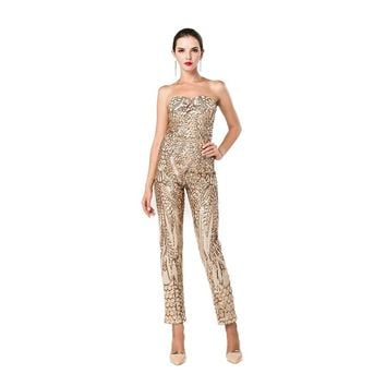 Women's Gold Sequin Jumpsuit - Free Shipping