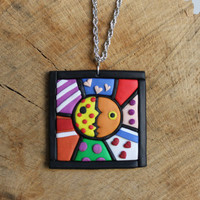 Pop art necklace fimo -- Square shaped pendant in polymer clay // Inspired by Romero Britto // Fimo jewelry