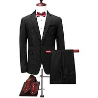 Male Suits Slim Fit Black Groom Wedding Suit Elegant Prom Party Suits For Men High Quality Formal Wear