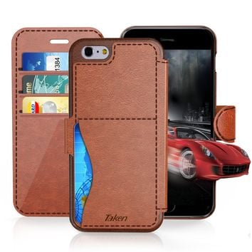 iPhone 6/6S Plus Leather Wallet Case with Cards Slot and Metal Magnetic, Slim Fit and Heavy Duty, TAKEN Plastic Flip Case / Cover with Rubber Edge, for Women, Men, Boys, Girls, 5.5 Inch (Dark Brown)