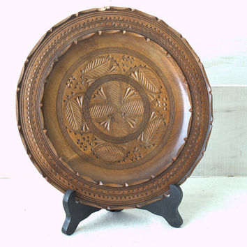 Round Wood Carved Tray, Moroccan Decor Plate, Decorative Wooden Plate, Boho Home Decor
