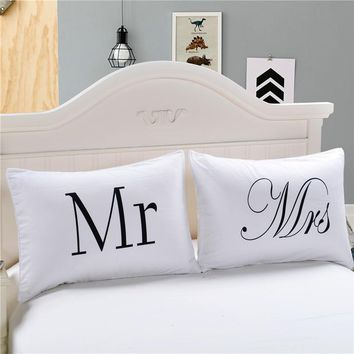 LFH Mr and Mrs Pillow Cases Couple Pillowcases Personalized Pillow Cover For Anniversary Wedding Gift Queen King Size