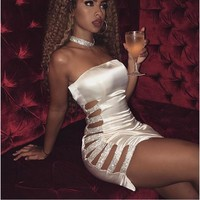 Sexy Women's Bandage Bodycon Streplee Club Dresses Ladies Cut Out Sleeveless Clubwear Party Cocktail Mini Dress