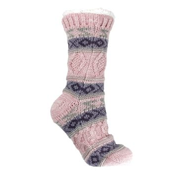 Women's Knit Reading Socks Furry Pink With Lavender Accent By MinxNY