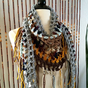 FREE SHIPPING - Crochet Triangle Steps Scarf - Multi, Blue, Gold, Brown, Gray, Tan