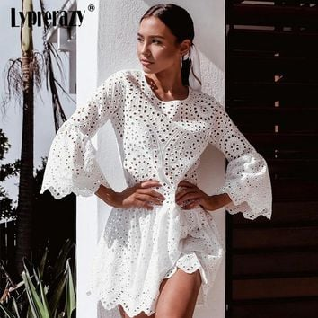 Lyprerazy Elegant O neck Hollow out women dress Flare pleated Beach summer dresses Casual sexy Lace Button dresses festa