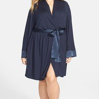Plus Size Women's Midnight by Carole Hochman Satin Trim Robe