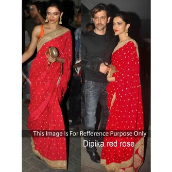 Deepika Padukone Georgette Border Work Red Bollywood Style Saree - 405