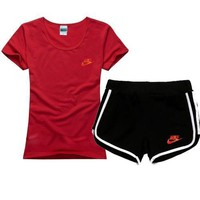 NIKE Women Men Fashion Cotton Sport Shirt Shorts Set Two-Piece Sportswear