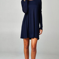 "PIKO ""Everything"" Long Sleeve Tunic - Navy"