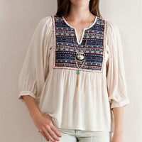 Aztec Print Yoke Blouse - Natural