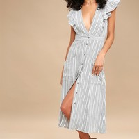 Kika Grey Striped Button-Up Midi Dress
