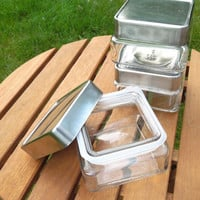 Anchor Hocking glass storage containers (Lot of 3) with air-tight metal lids - Square glass storage jars