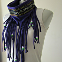 Boho Hippie Fringe Festival Scarf with Chevron trim and beads