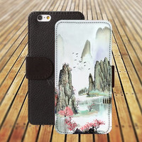 iphone 5 5s case Retro landscape iphone 4/ 4s iPhone 6 6 Plus iphone 5C Wallet Case , iPhone 5 Case, Cover, Cases colorful pattern L085