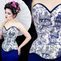 Corset porcelain steel real overbust navy white ecru goth gothic japan chinese retro tight lacing waist training oriental