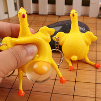 Novelty Spoof Tricky Funny Gadgets Toys Vent Chicken Whole Egg Laying Hens Crowded Stress Ball Keychain