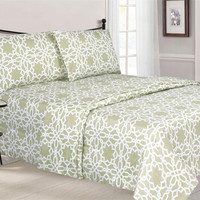 Ruthy Printed Damask Sheet Set with Extra deep Pockets SAND