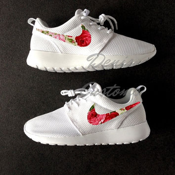 Nike Roshe Run One White Custom Pink Cream Red Rose Floral Print
