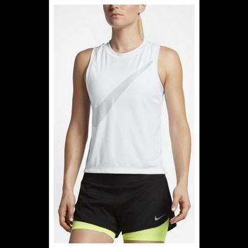 Nike- Womens City Core DRY Racerback Running- Athletic White Tank Top- NWT