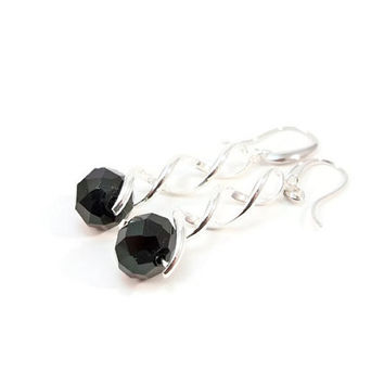 Black Dangle Earrings, Silver Plate Earrings, Silver Women's Earrings, Gift for Her, Black and Silver Earrings