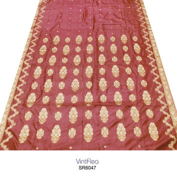 Vintage 100% Pure Silk Sari Used Craft Supplies Traditional Indian Maroon Wedding Dress Recycled Curtain Drape Woven Work 5Yd Scrap SR6047