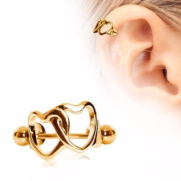 Gold Plated Interlocked Hearts Cartilage Cuff