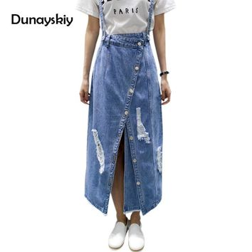 Summer Ripped Womens Skirt Jeans Jupe Hole Ladies irregular Front Slit Elegant Denim Skirts Suspender Split Saias Dunayskiy