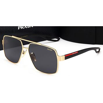 Prada Women Trending Popular Summer Sun Shades Eyeglasses Glasses Sunglasses Golden/Black G-HWYMSH-YJ