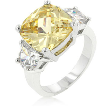 Jonquil Canary Yellow Cushion Cut Cocktail Ring | 9ct | Cubic Zirconia